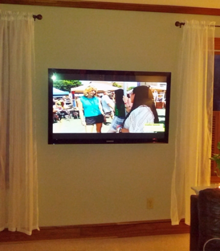 Flat Screen TV Installed on Wall Mount